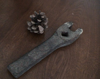 """Primitive Cast Iron Industrial Screw or Bolt Wrench 5/8"""", Heavy Duty, Collection Add, Man Cave Decor"""