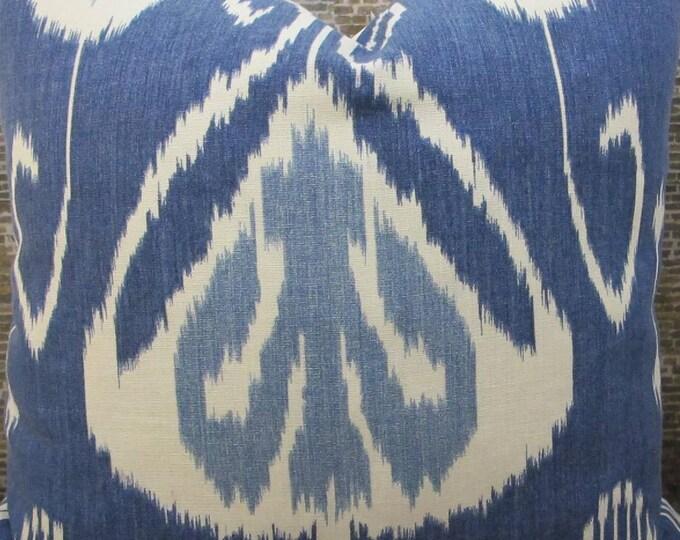3BM Designer Pillow Covers -16 x 16, 18 x 18, 20 x 20, 22 x 22, 24 x 24, 26 x 26 - Bansuri Ikat Iris Blue