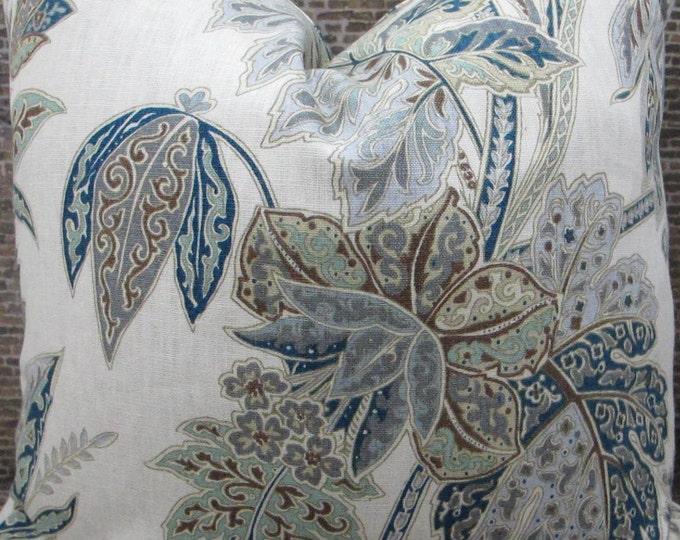 Designer Pillow Cover  Lumbar, 16 x 16, 18 x 18, 20 x 20, 22 x 22, 24 x 24 -  Kravet Ishana 516 Indigo