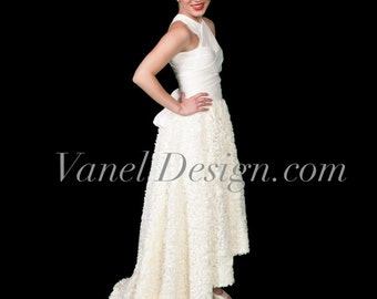WEDDING GOWN Lace Rose convertible dress wrap elegant formal dress classy foral party dress infinity dress short long prom dress