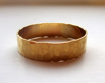 Wide Band Ring Hammered 14k Gold Filled