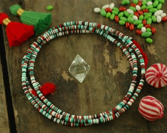 Holiday Mix African Vinyl Record Beads  / Red, Green, White, Black / 3mm, Tiny / Festive Christmas, Jewelry Making Discs, Craft Supplies