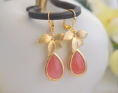 Coral Pink and Gold Orchid Teardrop Drop Earrings.  Coral Pink Dangle Bridesmaid Earrings. Jewelry Gift for Her.  .