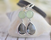 Charcoal Teardrop and Mint Jewel Drop Earrings in Silver.  Mint and Grey Bridesmaid Dangle Earrings. Jewelry Gift Her.  Bridesmaids Gift.