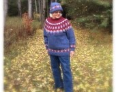 Classy Hand Knit, Red, White, Blue, Nordic Design, Wool Sweater & Hat Combo, Womens Size: M