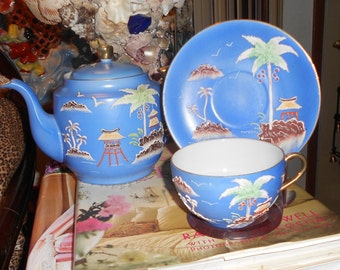 Chinoiserie rare antique  blue moriage teapot with cup and saucer