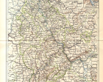 1898 Original Antique Dated Map of Rhine Province or Rhenish Prussia