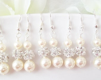 Bridesmaids Earrings Set of 8 Pearl and Rhinestone Bridesmaid Earrings,Bridesmaids Gifts,Eight Bridesmaids Earrings,Ivory White Grey Pearls