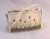 Christmas gift card holder Cream Silk box Coral tulips wedding favour box spring flowers easter birthday christmas Gift card box trinket box