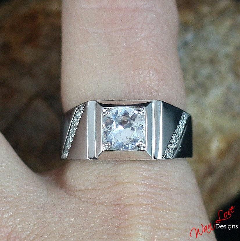 Mens White Sapphire Amp Diamond Wedding Band Ring Round Cut