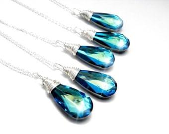 Beach Bridesmaid Necklace Set Of 6, Bermuda Blue Teardrop Necklace, Bridesmaid Blue Jewelry, Will You Be My Bridesmaid Gift, Blue Wedding