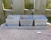 Vintage Planters - Metal Planters, 3 Planters and Tray, Seed Starter Set, Square Metal Pots and Tray