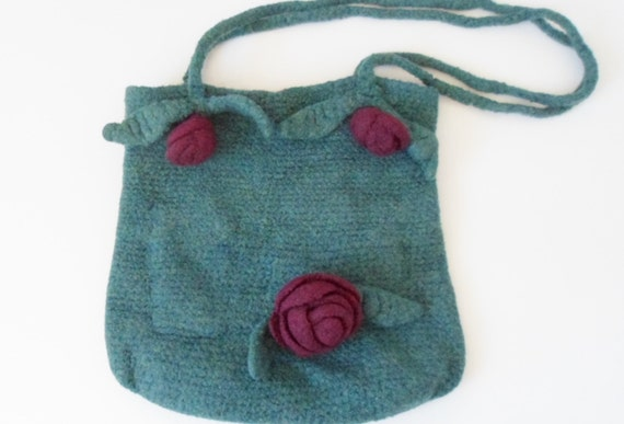 Crochet Purse Handles : Felted Crocheted Purse with Rosebud Stem Handles in Jade and Plum