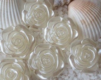 Acrylic Pearlized Rose Cabochon - 18mm - 12 pcs - Pearl White