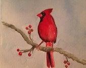 "5"" x 5"" hand- signed Cardinal Watercolor Print"