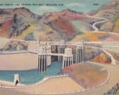 Intake Towers and Arizona Spillway- 1940s Vintage Postcard- Boulder Dam- Kingman, Arizona- Route 66- Souvenir View- Paper Ephemera- Used