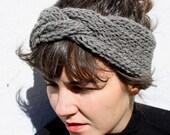 braided headband in slate grey, hand knit from 100% Peruvian Highland sheep's wool