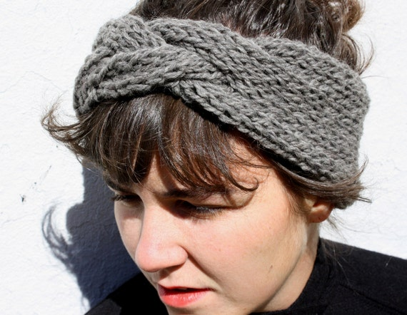 braided headband in slate grey, hand knit from 100% Peruvian Highland sheep's wool