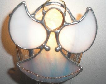 LT Stained glass aqua mauve streaked Angel night light lamp