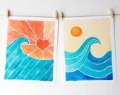 Surf Art Set of Two Prints - Beach Art - Waves - Ocean - Hearts