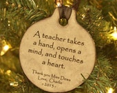 Teacher Personalized Christmas Ornament, Teacher Gift, Personalized Teacher, Teacher Ornament, Personalized Ornament, Christmas gift for
