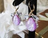 Crystal with Opal Like Gems  Bridal  Wedding Jewelry Earrings Pageant Jewelry