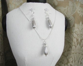 Great Bridesmaids gifts Pale Grey Swarovski Pearls  on Silver Plated Chain Necklace