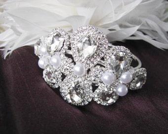 Clear Glass and Rhinestone Flip open Bangle Style Bracelet with Rhinestone Focal piece  Bridal Wedding Jewelry Pageant Jewelry
