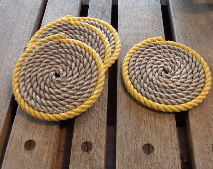 Rope Coasters Yellow Accented on Gray or natural  Nautical  Coastal Rustic Decor