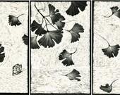 Art Card of Gingko Tryptych design in Scraperboard