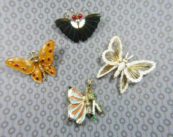 FOUR Vintage Butterfly Brooch DESTASH Lot - BUT-129 - Butterfly Lot - Destash Lot - Butterfly Destash Lot - Craft Lot - Destash Craft Lot