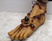 AUTUMN SPLENDOR. Fancy Drop style. Amber, red, and gold soleless sandals.  Bellydance, beach, and barefoot fashion!  HFT-379