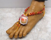 Sale EGYPTIAN SUN. Red and orange soleless sandals with pharaoh ornament.   Flora Charm style. HFT-934