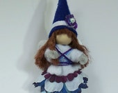Woodland Fairy, Blue and White Fairy, Hand Crafted Flower Fairy, Hang it or Stand it