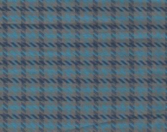 1 yard Mod Vintage Blue Plaid Cotton Blend Fabric