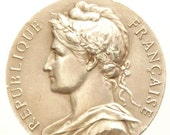 """Antique French Medal of the MARIANNE signed A. BORREL 1959 on 18"""" sterling silver rolo chain"""