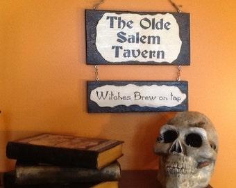 Olde Salem Tavern Sign - handmade wood signs - halloween sign - holiday wood sign - salem witch