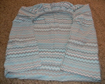 FLANNEL Blue and Gray Cheveron Fitted Crib or Toddler Bed Sheet
