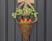 "Spring Wreath Summer Grapevine Door Kitchen Basket Wreath Decor..""Garden Carrots"" Orange Carrots-Burlap Ribbon Bow-Spanish Moss"