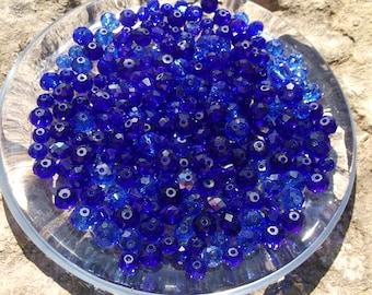225 Sapphire Swarovski Crystal And Glass Beads