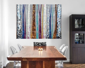 MADE TO ORDER: Colorful Unique Forest Tree Painting by MyImaginationIsYours (Aspen, Birch, Trees, Blues, Teals, Metallics, Plum, Olive)