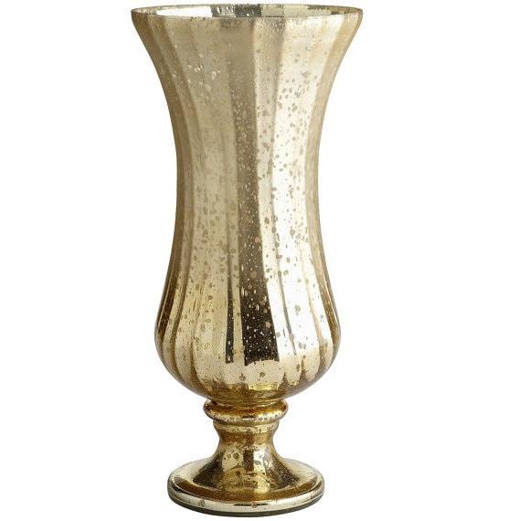 Gold mercury glass vase candle holder