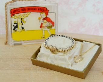 Vintage Child's Bracelet and Necklace Set Little Red Riding Hood