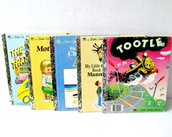 Children's Little Golden Books / Book of Manners / Tootle / Mother Goose / Taxi That Hurried / Richard Scarry's ABC