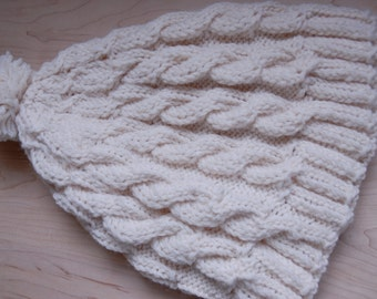 Cable knit wool cream hat, hand knit