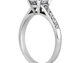 1.00 carat 6.5mm Round Forever Brilliant Moissanite Cathedral Diamond Engagement Ring  ENR8652