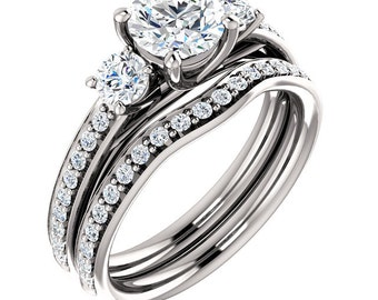 Certified center Natural White Sapphire Solid  14k white gold diamond  3 stone Engagement Ring Set - ST233111