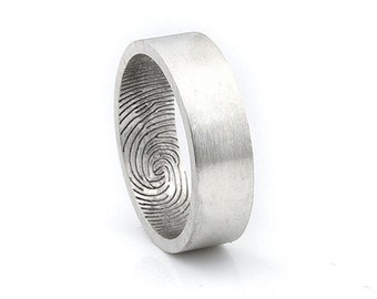 Inner Fingerprint Ring - Sterling Silver Engraving Wedding Band ,flat 6mm