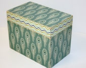 Peacock Feather Recipe Box, Teal Recipe Box, Navy Blue and Green, Chevron Box, 4x6 Wood Recipe Box, Wedding Guest Box, Peacock Keepsake Box