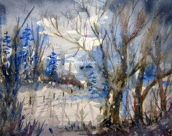 Winter Woods, Print of Original Watercolor Painting, watercolor art, winter landscape, winter painting, snow painting, nature, snowfall.